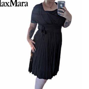 MaxMara |Faux Wrap Tie Brown/gray Midi Party Dress
